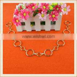 Wholesales fancy gold sew on metal clothing trim chain designs for garment dress neck waist decoration on sale