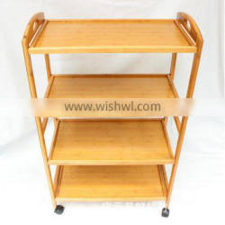 4 Tier bamboo kitchen trolley