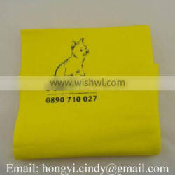 Natural materail logo printed soft touch and water absorbent pet body wiping cloth, pet body wash cloth