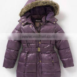 100% Polyester, Taffeta, Unisex Baby Hooded Quilted Padding Jacket with Fur