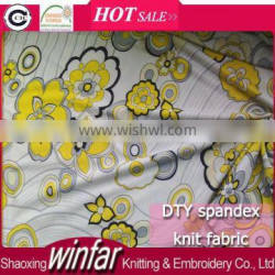 Winfar Hot Sell Cheap Knit Print Polyester Spandex Jersey DTY Fabric Manufacturers in Shaoxing