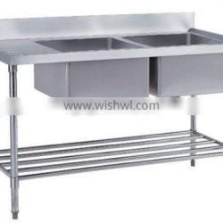 Double Stainless Steel Bench Sink With Pot Shelf
