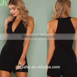 Summer elegant front wrapped plunging V-neck sexy playsuit