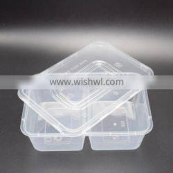 Promotional eco-friendly customized size 2 compartments food container pp plastic box for food packaging