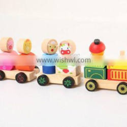 Wooden animal cars toy with blocks