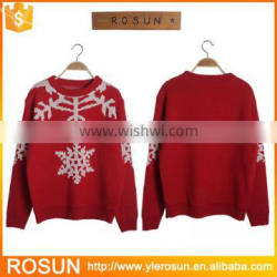2016 New Design Custom Knitted Snowflake Pattern Acrylic Christmas Sweater