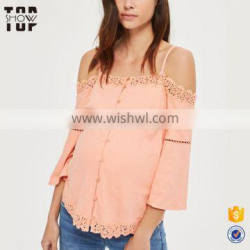 Hot selling maternity tops latest hot sexy boobs in blouse cold shoulder tops