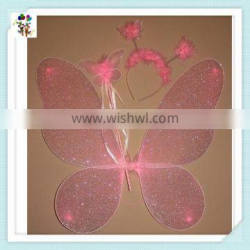 Kids Party Pink Butterfly Wings with Wand Headband HPC-1752