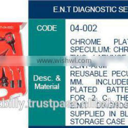 Ent diagnostic set with metal battery chorome plated, surgical instruments