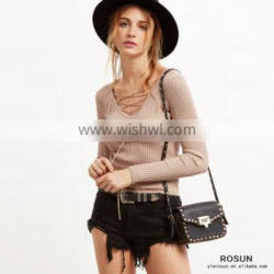 Ladies Lace Up V Neck Ribbed Slim Fit Sweater