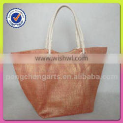 women newest fashion jute and cotton material shoulder tote bag style cotton handle