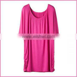 casual free size spandex cotton blouse for fat lady two down bunched side women blouse