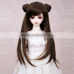 long straight black bjd/blythe doll wig with two hair buns