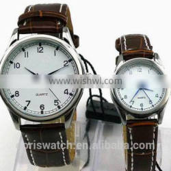 Alloy case genuine leather band fashion love watch for 2016 Valentine 's day project