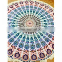 tapestry beach throw round table cover , yoga place mat