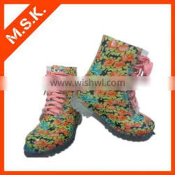 Latest Design Transparent Lace Up Rain Boot With Flower