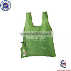 folding bag into pouch with drawstring closure
