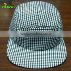 light color checked pattern wholesale blank 5 panel camp cap and hat custom headwear