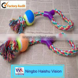 Cheap Pet Training Toy Interactive Dog Toy Tugger & Chew Tennis Ball Rope