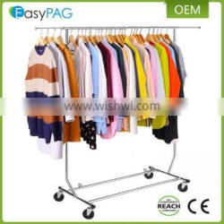 Stainless steel clothes garment drying rack supplier with 4 Casters,Single Rail