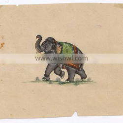Indian Animal Paper Painting Original Water Color Hand Painted Elephant Miniature Art