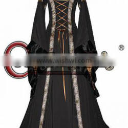 Medieval Renaissance Dress With Trumpet Sleeves For Gothic And Fantasy Parties Long Trumpet Sleeve Hooded Collar Costume