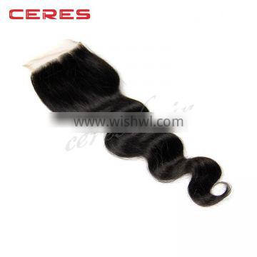 Cheap price18 Inch Natural color 4*4 body wave human hair lace closure
