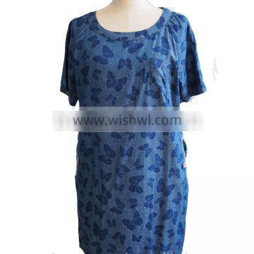 Butterfly Printed Chambray Denim short sleeve Round Collar Tunic Dress with Front and Side Pocket