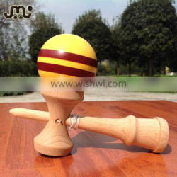 Wholesale yellow with brown striped kendama