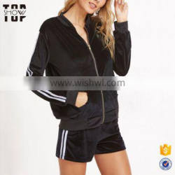Cheap custom tracksuit sportswear black striped side zip top and shorts velvet tracksuits for women