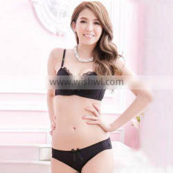 Young Girls Underwear Bra Sets Simple Smooth Comfortable Lingerie Suits Women Lace Bra Sexy Solid Bra Brief Set