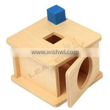 Preschool educational toys material for imbucare box with cube