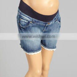 Hot Selling Maternity Shorts With Light Wash Lace-Trim Under-Belly Maternity Shorts Women Clothing WP80817-16