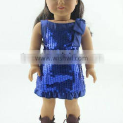 """High quality 18 inch doll clothing wholesale doll clothes 18"""" blue dress american doll clothing"""