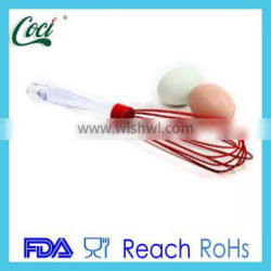 Silicone egg beater with stainless steel handle silicon whisk