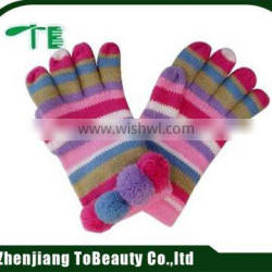 colorful striped finger gloves with pompom