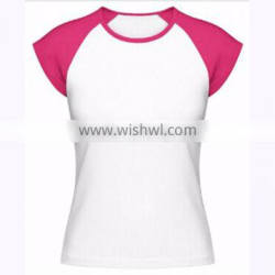 Custom unisex Two Color T-shirts 100% cotton Single Jersey 30/1 in Pink & White color