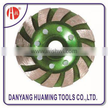 China Danyang factory high quality power tool diamond continuous turbo cup grinding wheel