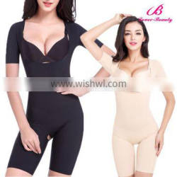 Sexy Black and Nude Body Shaper Short Sleeve Slimming Body Corset with Material Picture