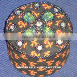 Black Color Round Shape Hand Embroidery Jewelry Box