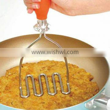 S/S+PC+TPR 25*10*3 High quality kitchen gadgets stainless steel potato masher