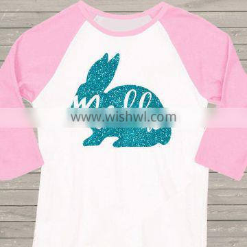 3M-12T baby Easter shirt girl sparkly glitter bunny personalized raglan Tshirt top quality M6121301