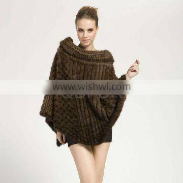 QD28603 New Style Knitted Mink Fur Poncho 2013 Collection