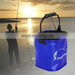 Foldable EVA Water Bucket with Rope Belt Outdoor Fishing Tackle Camping Blue