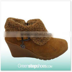 Suede Leather Fur Lining Wedge Sexy Winter Boots