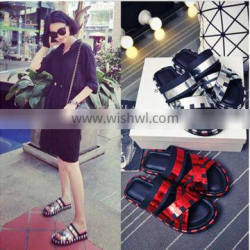 2016 summer new round Europe color cross flat bottomed leather shoes slippers word