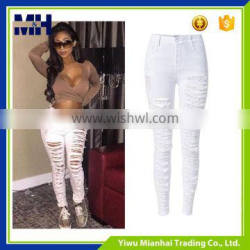 Personality hot style article all torn slim elastic high waist jeans feet pants