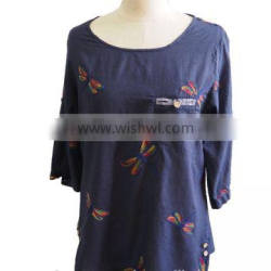 Colorful DragonFly Print Round Collar 3/4 Sleeve with Front Pocket Ladies Top Blouse Tunic Dress