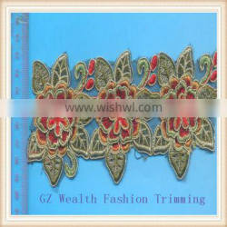 Golden thread embroidery guipure lace trimming
