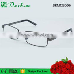 Good quality metal frame PC temple western style reading glasses with match pouch